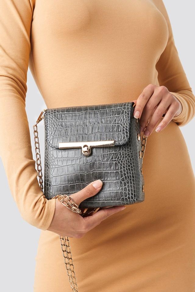 Texture Detailed Shoulder Bag Gray
