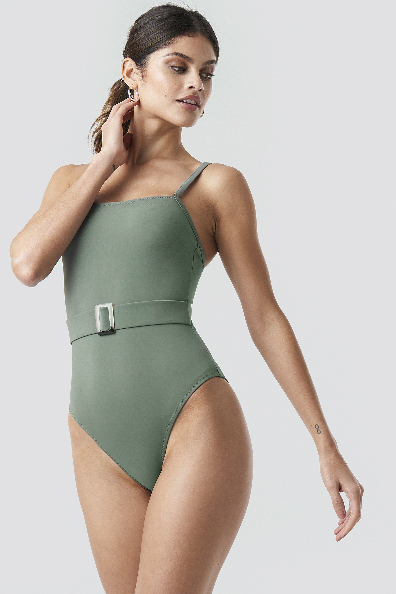 Khaki Belt Detailed Swimsuit