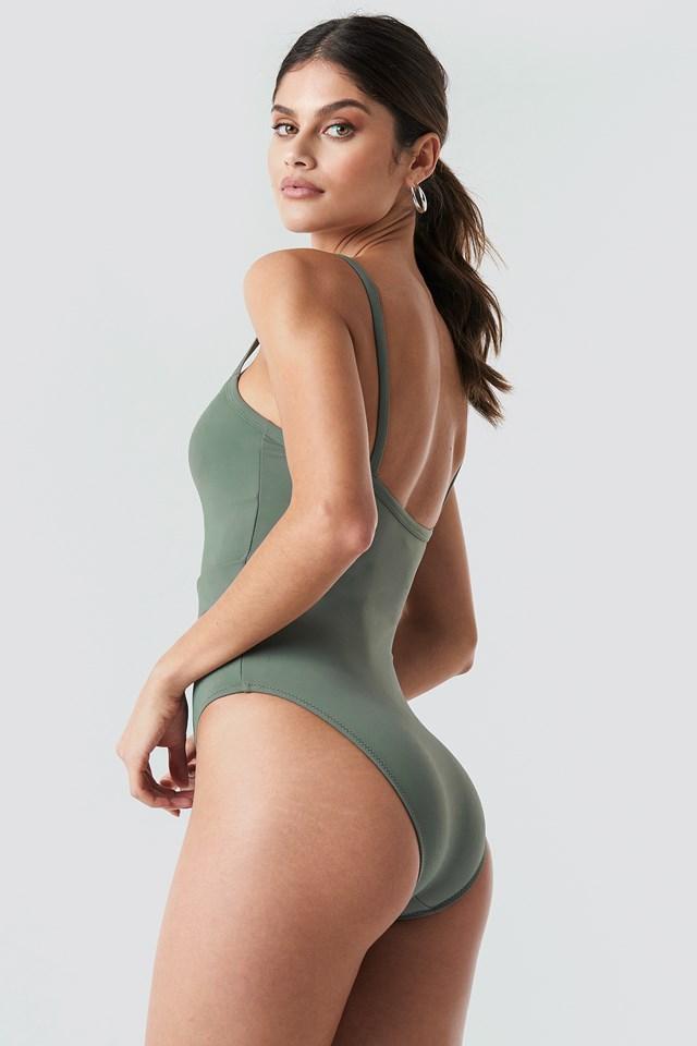 Belt Detailed Swimsuit Khaki