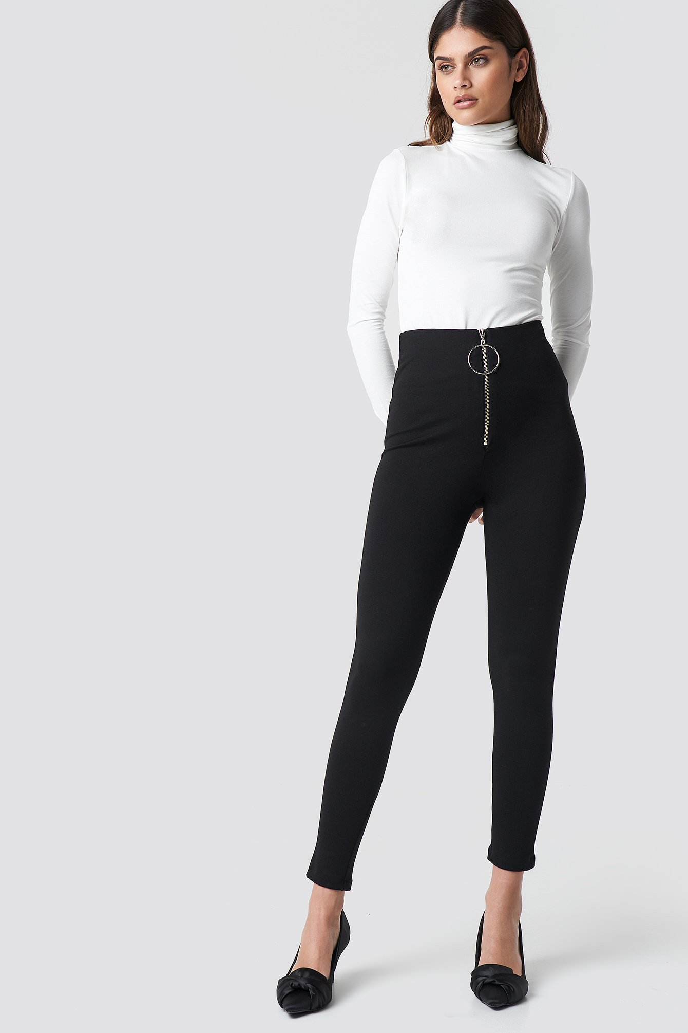 Zipper Detailed Tight Pants NA-KD.COM