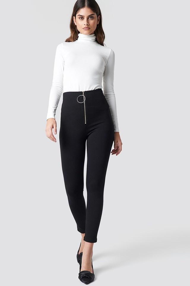 Zipper Detailed Tight Pants Black