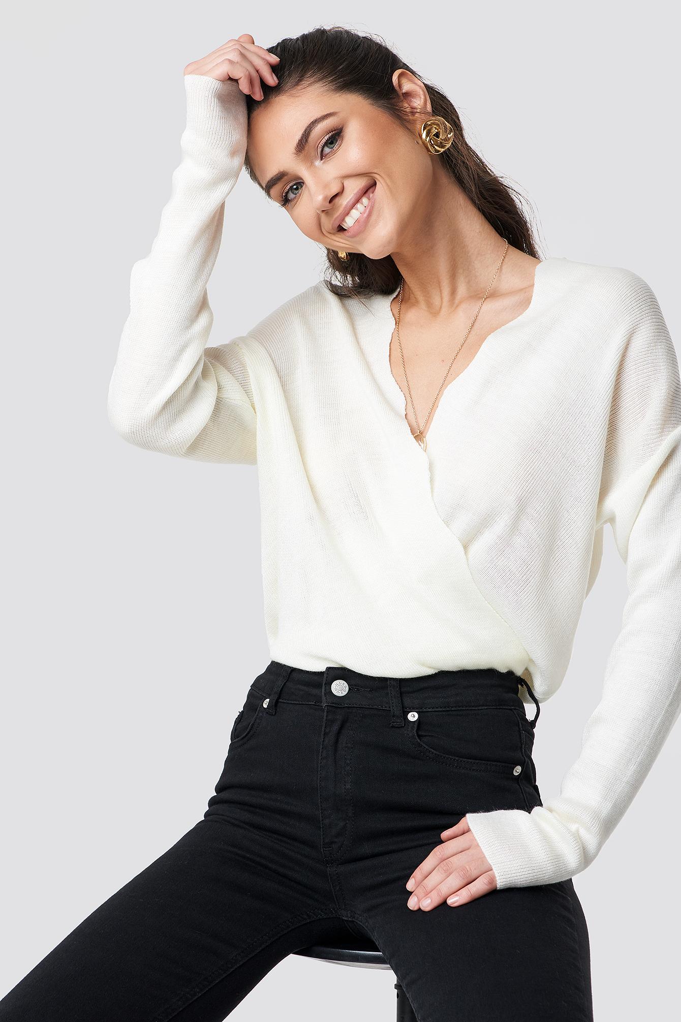 Detailed V-Neck Sweater NA-KD.COM