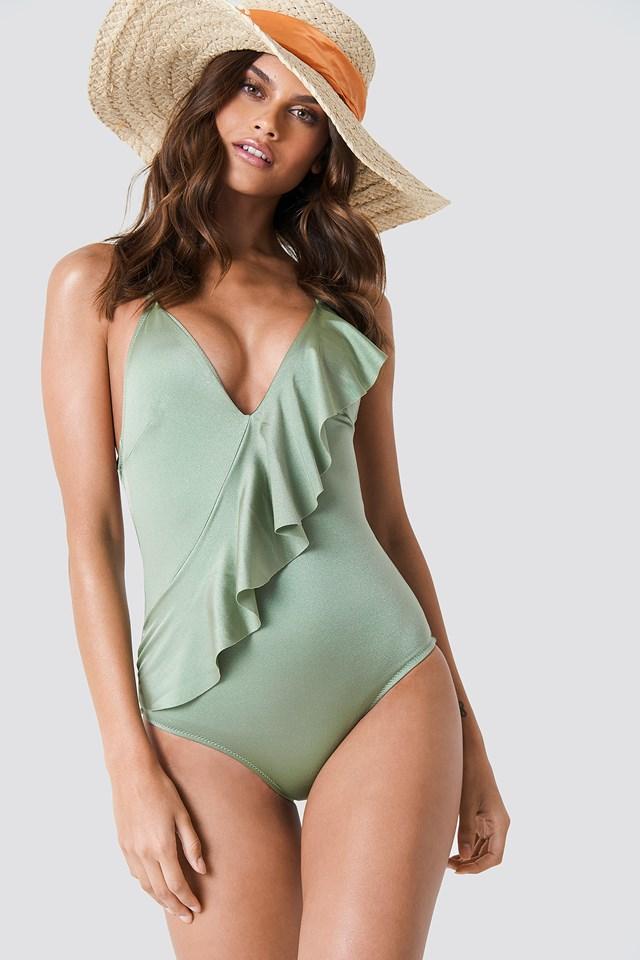Diagonal Ruffle Swimsuit Green