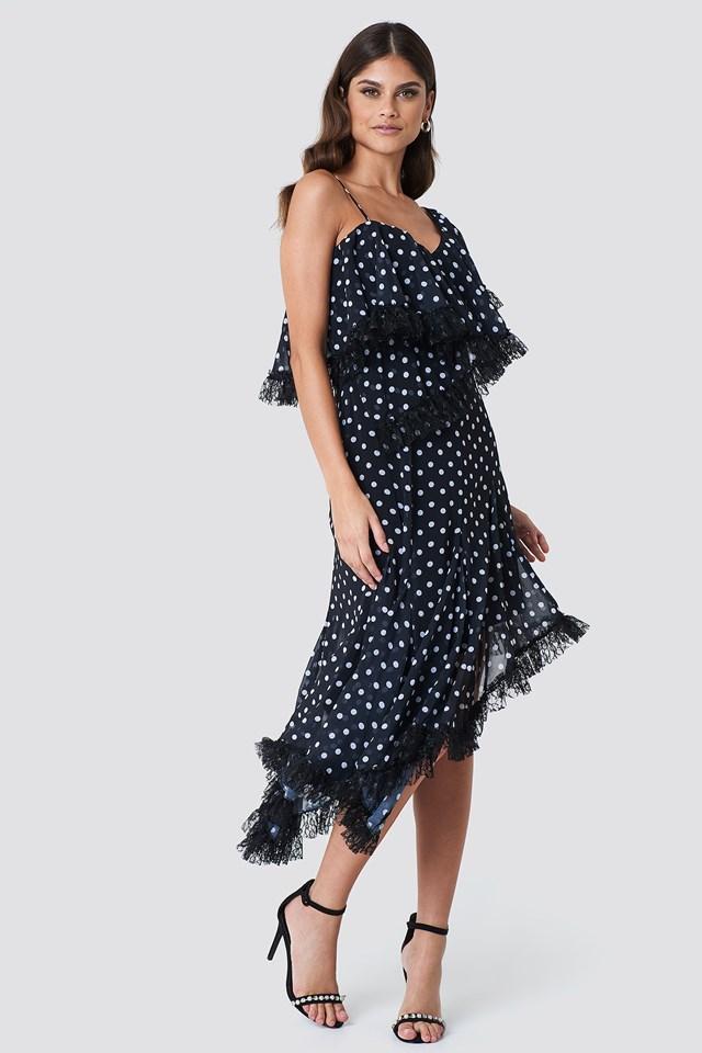 Sukienka midi w kropki Black