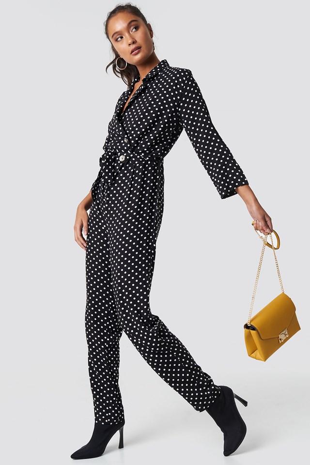 Dot Patterned Jumpsuit Black