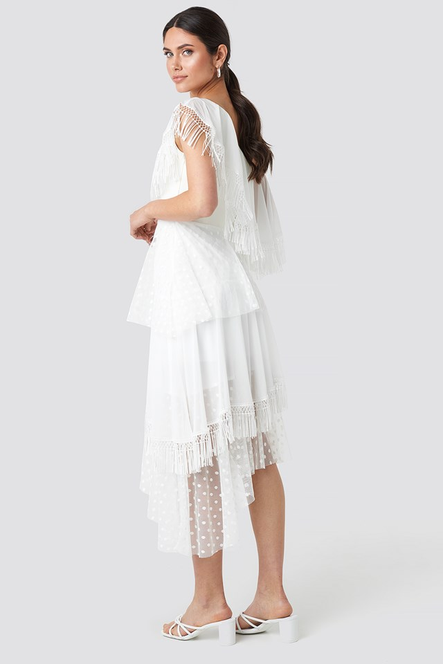 Dot Tulle Detailed Midi Dress Ecru