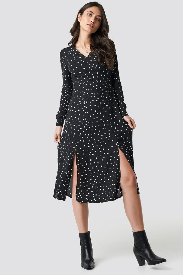 Dotted Long Dress Black