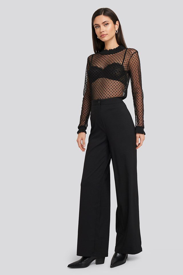 Dotted Mesh Top Black