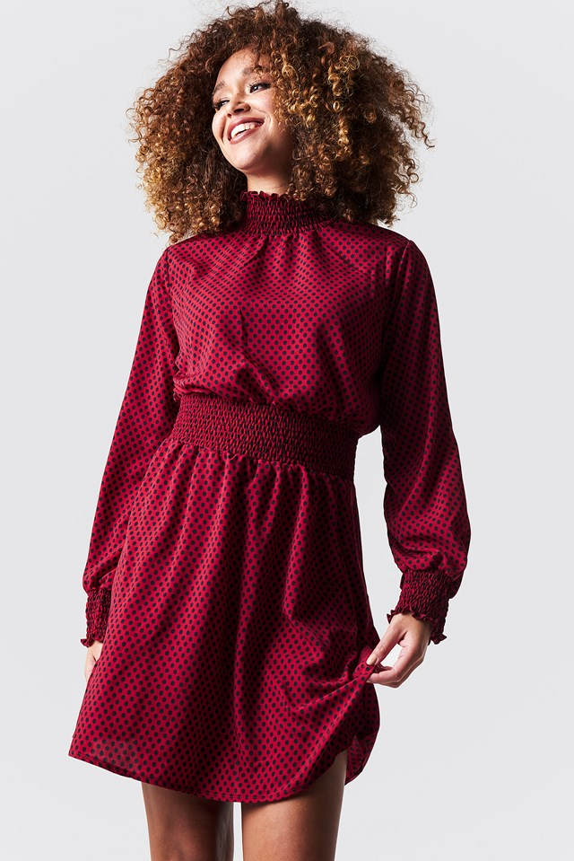 Dotted Midi Waist Detail Dress Red