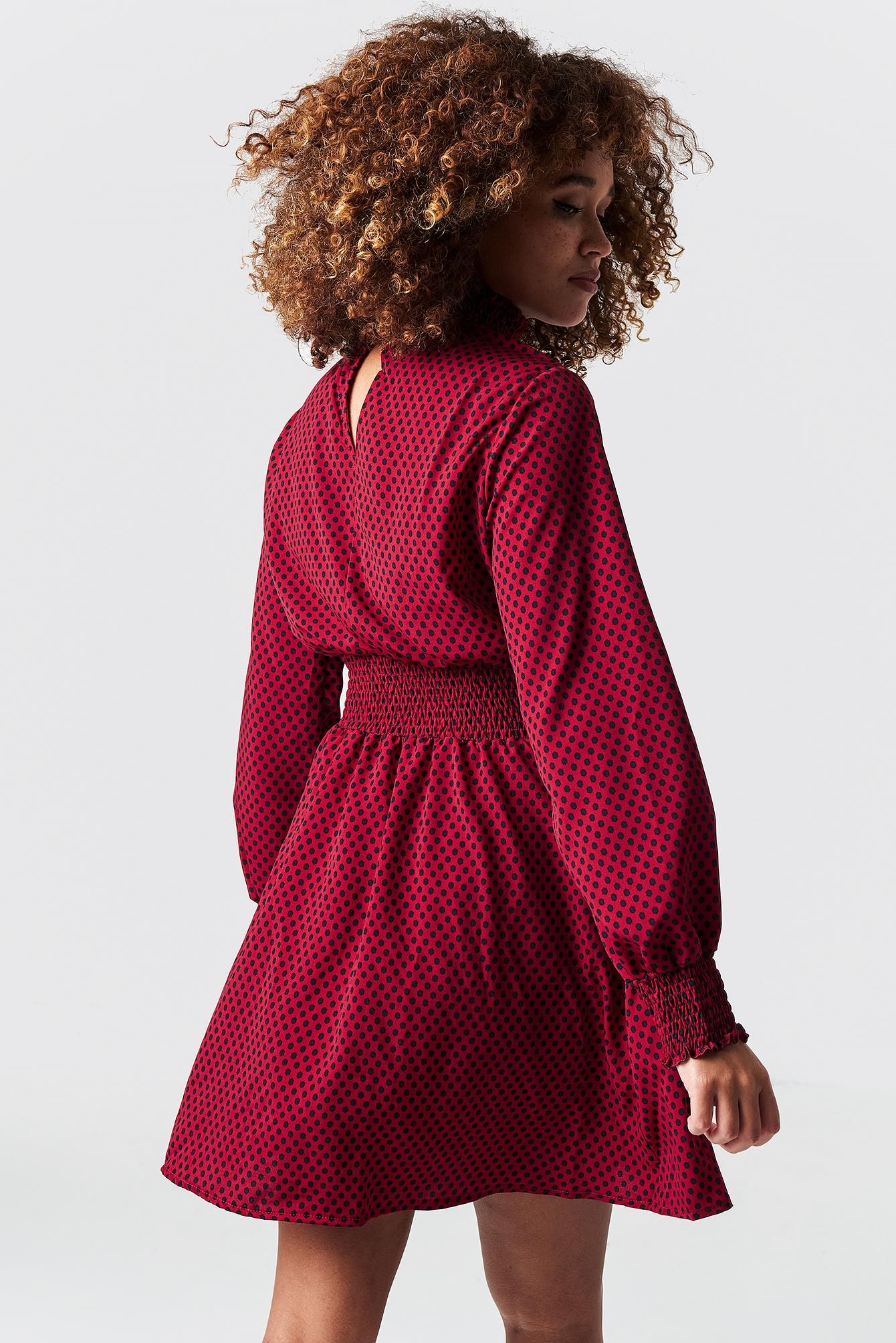 Dotted Midi Waist Detail Dress NA-KD.COM