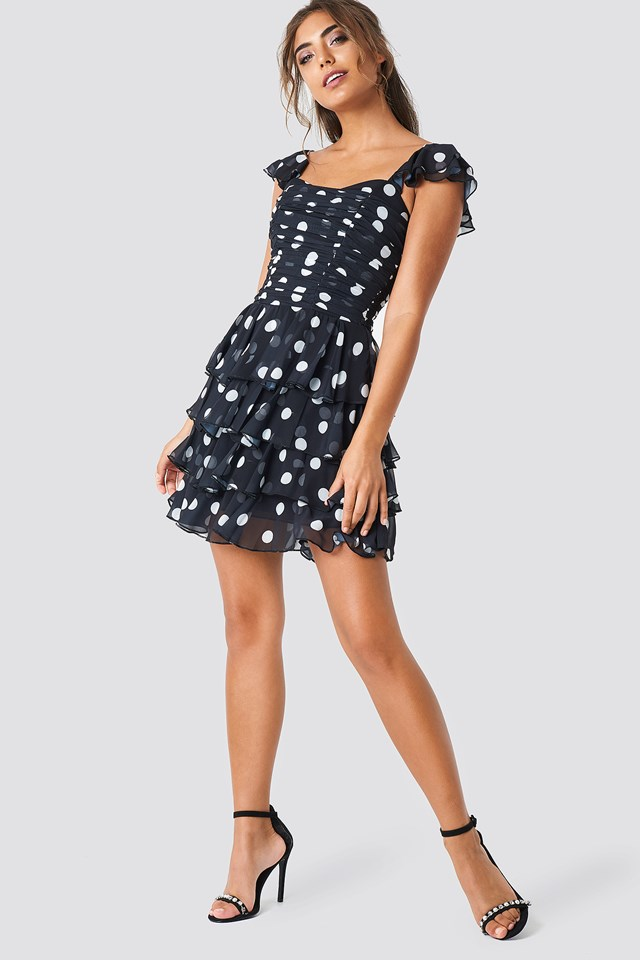 Dotted Mini Dress Black