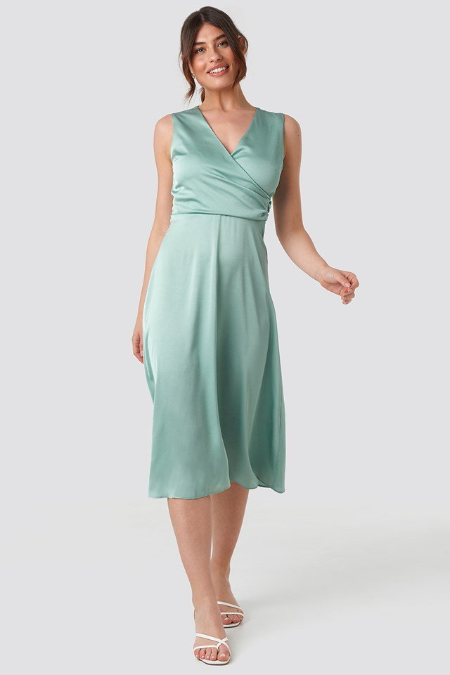 Double Breasted Collar Midi Dress Green