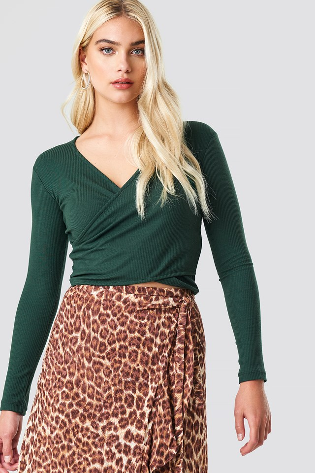 Double Breasted Knitted Blouse Green