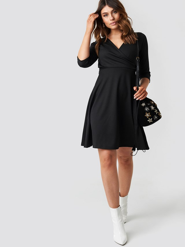 Double Breasted Knitted Dress Black