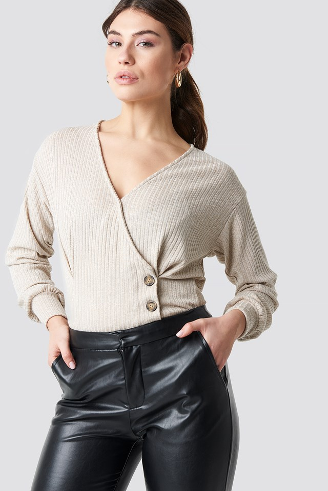 Double Breasted Knitted Top Beige