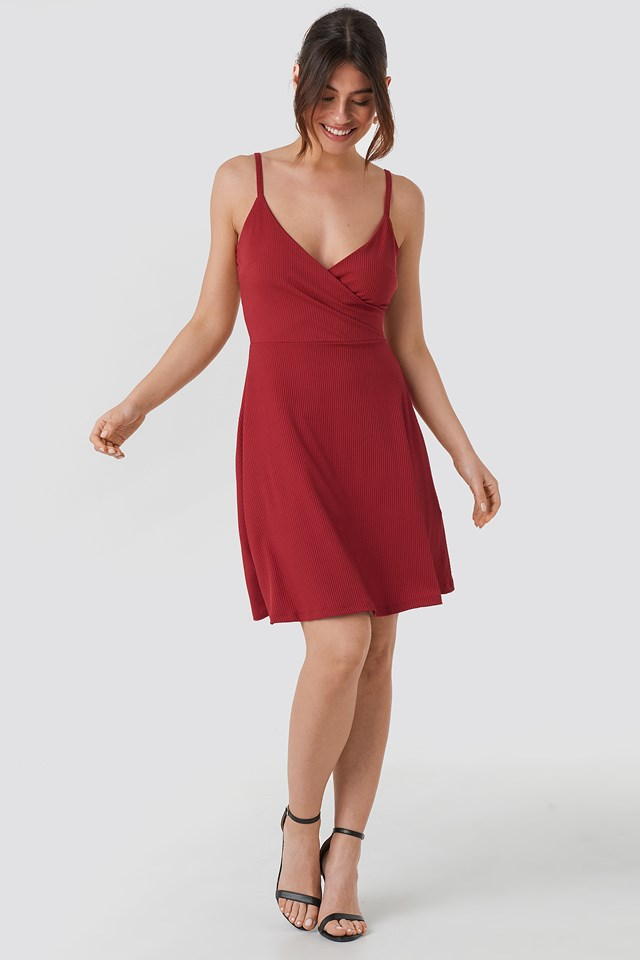 Double Breasted Ruched Mini Dress Red