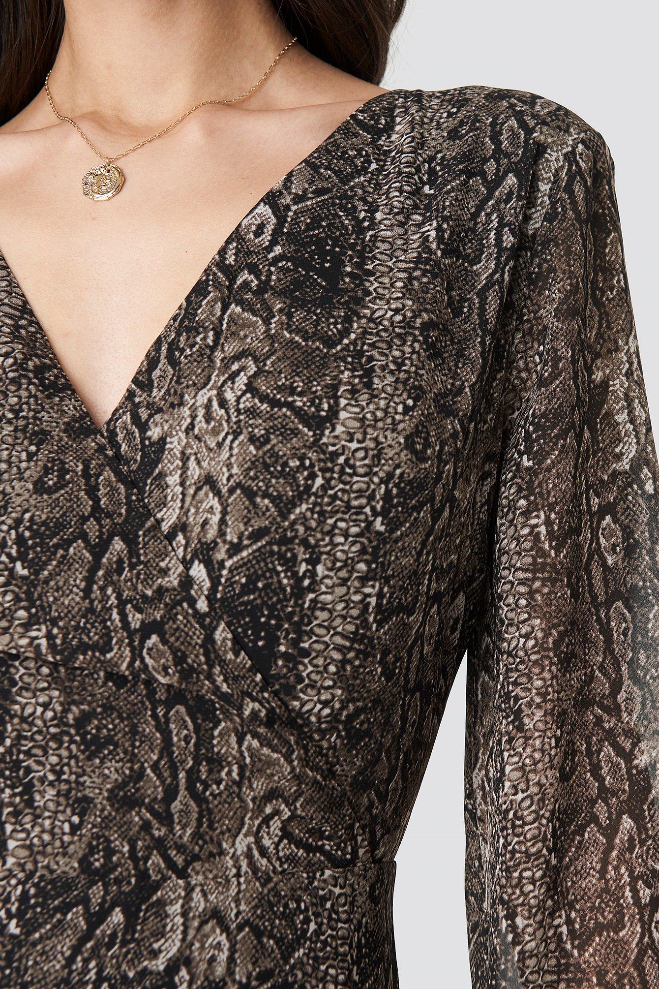 Double Breasted Snake Dress NA-KD.COM