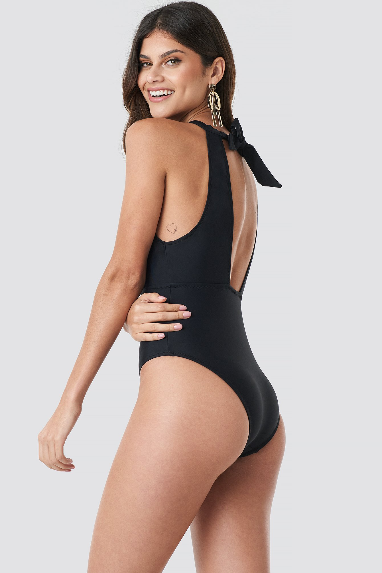 Double Breasted Collar Swimsuit NA-KD.COM