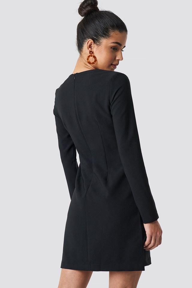 Double Button Detailed Dress Black