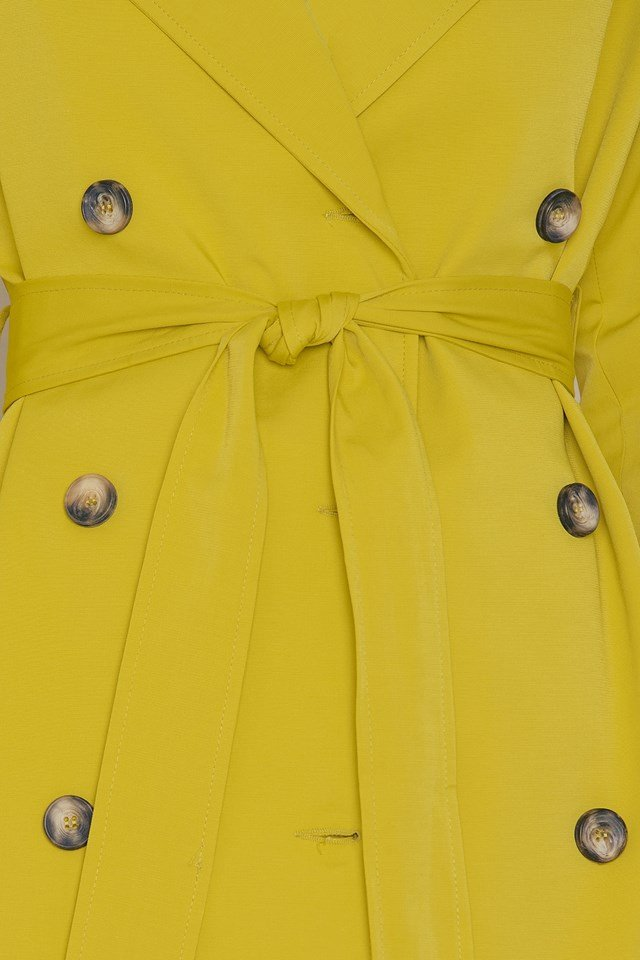 Double Button Tie Waist Coat Yellow