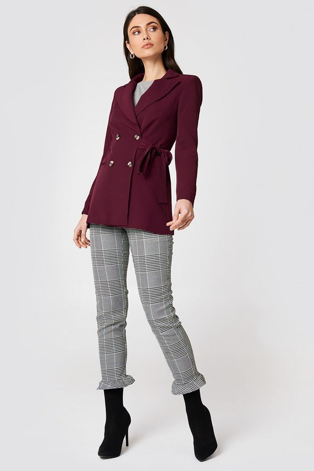 Double Buttoned Tie Back Jacket Fuchsia
