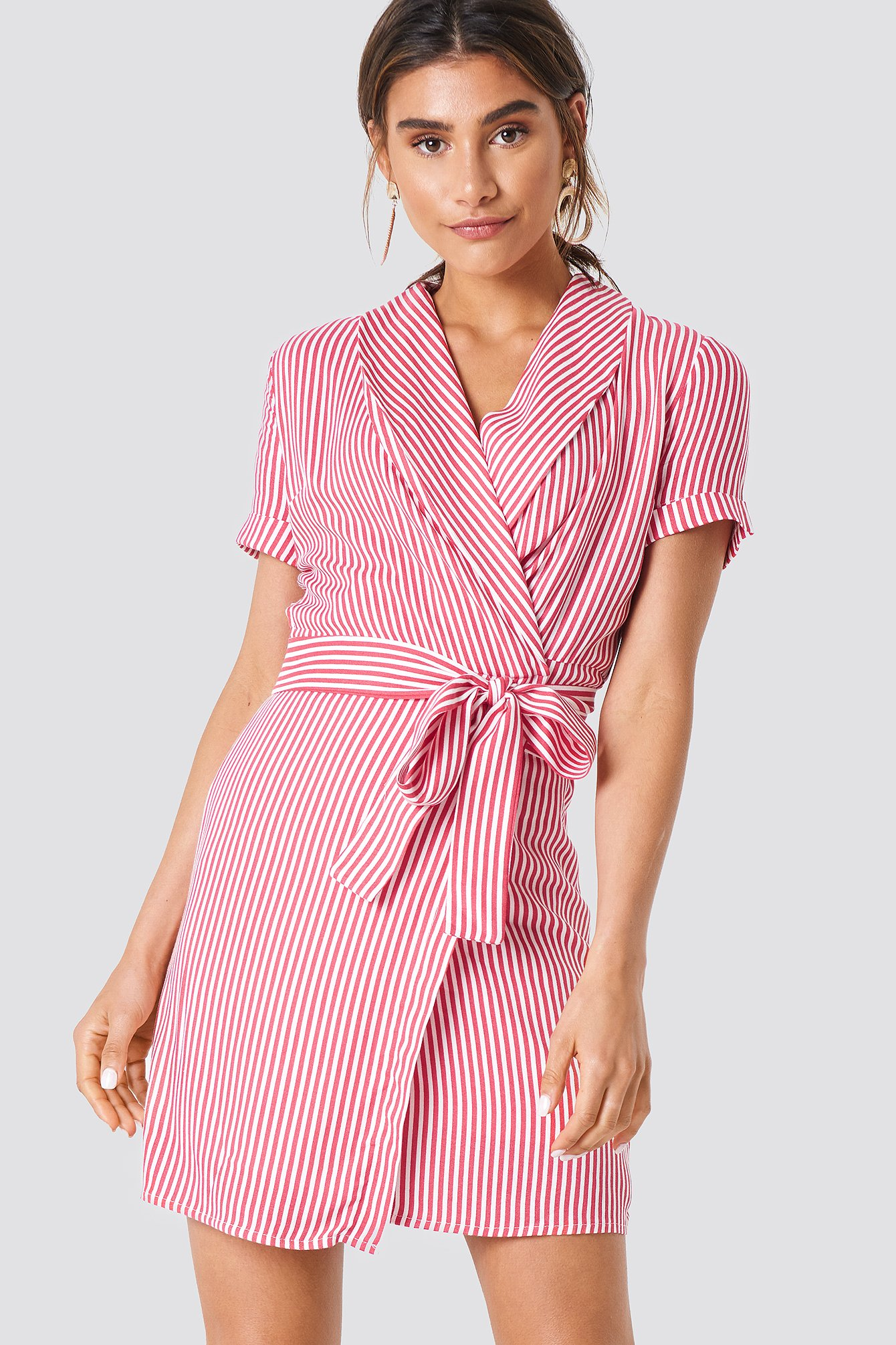 TRENDYOL DOUBLE LAYERED STRIPED DRESS - RED