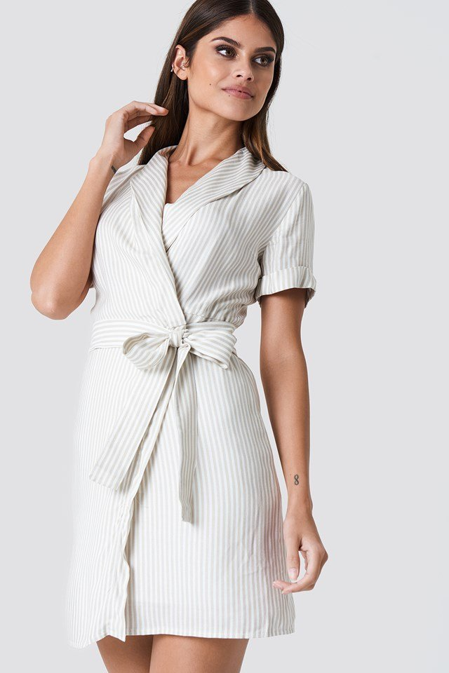 Double Layered Striped Dress Ecru