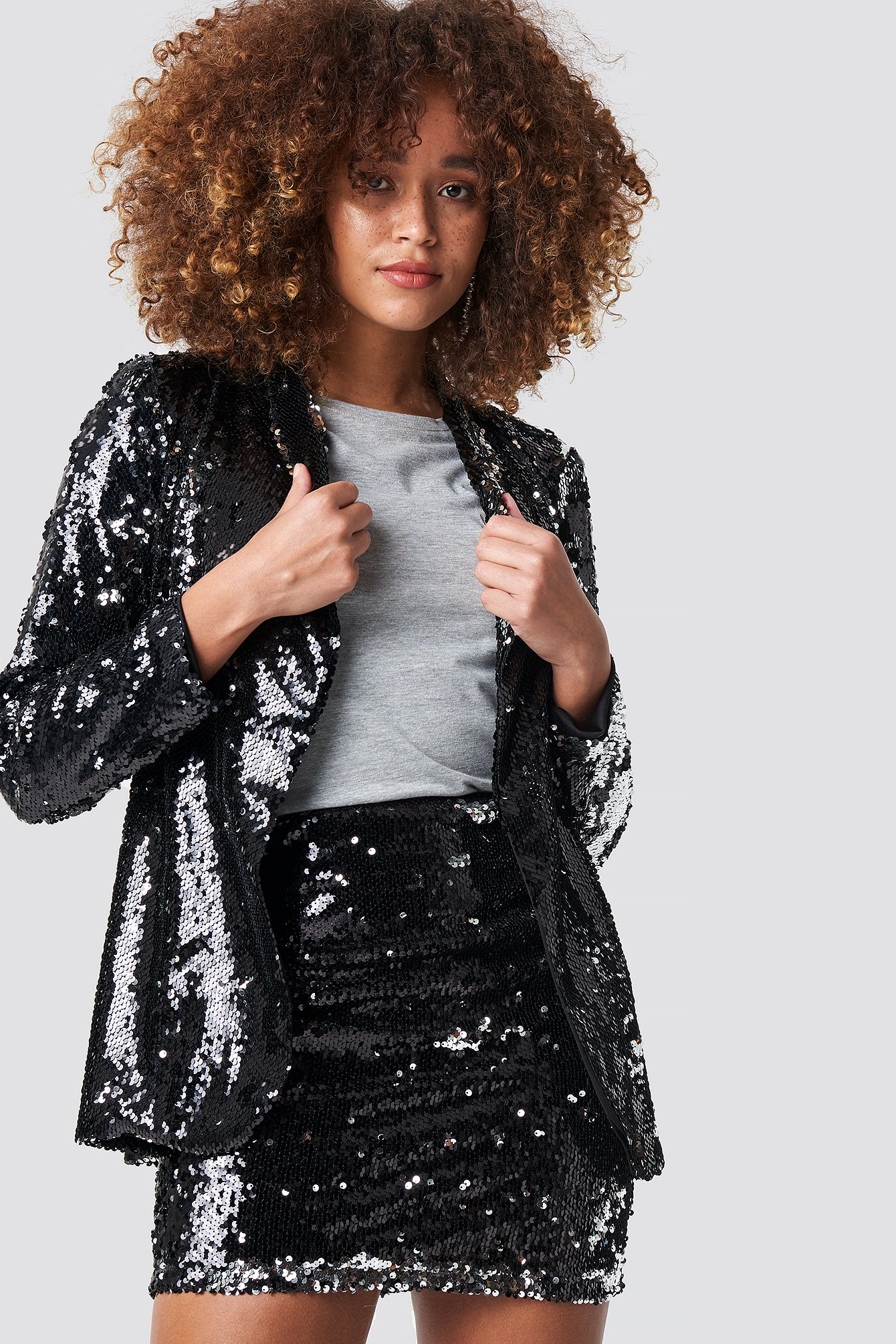 trendyol -  Double Sides Sequined Top - Black