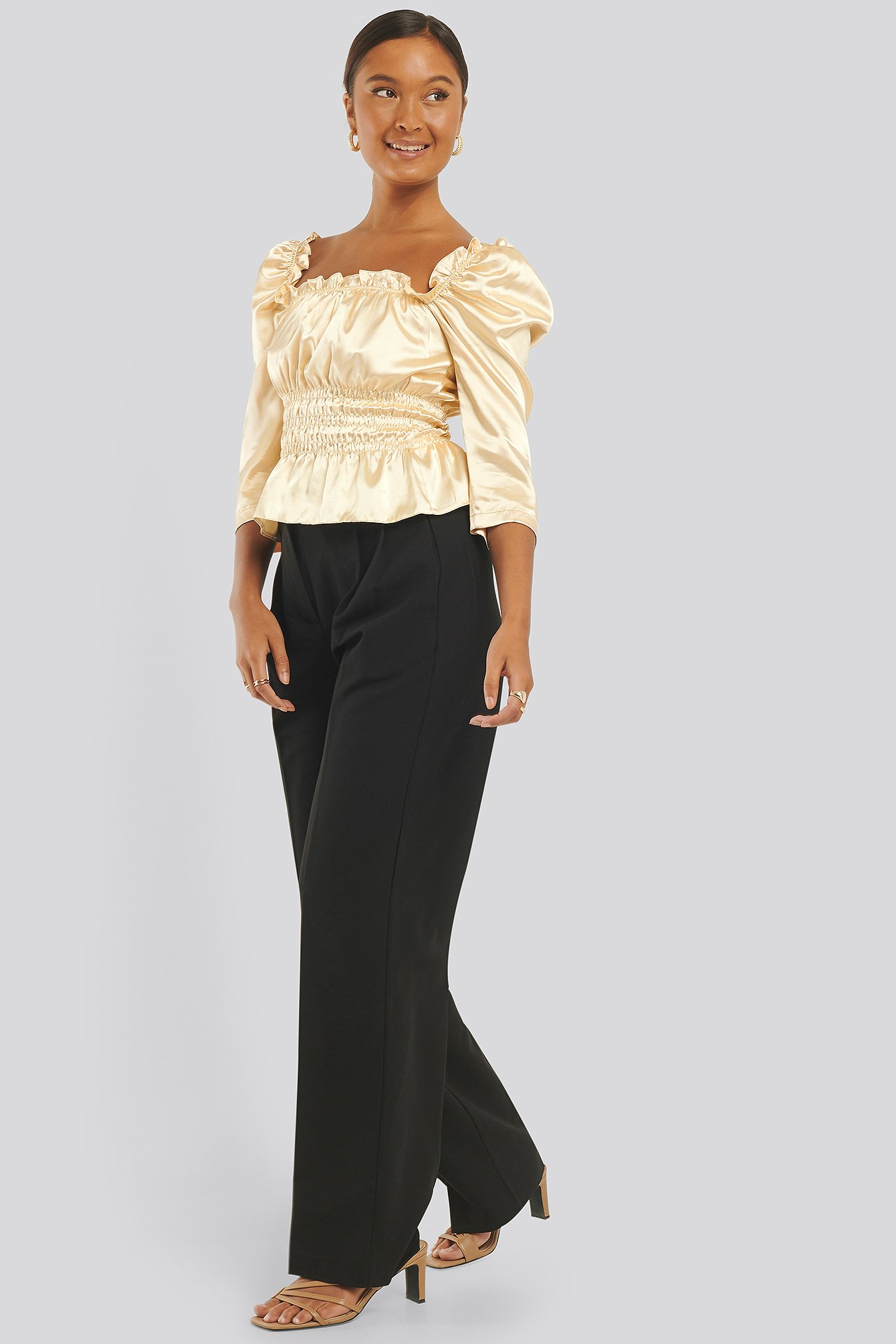 Beige Drape Detailed Blouse