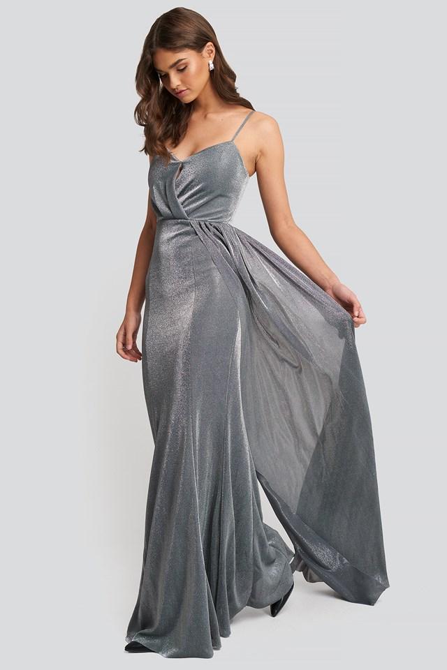 Silver Drape Detailed Evening Dress Silver