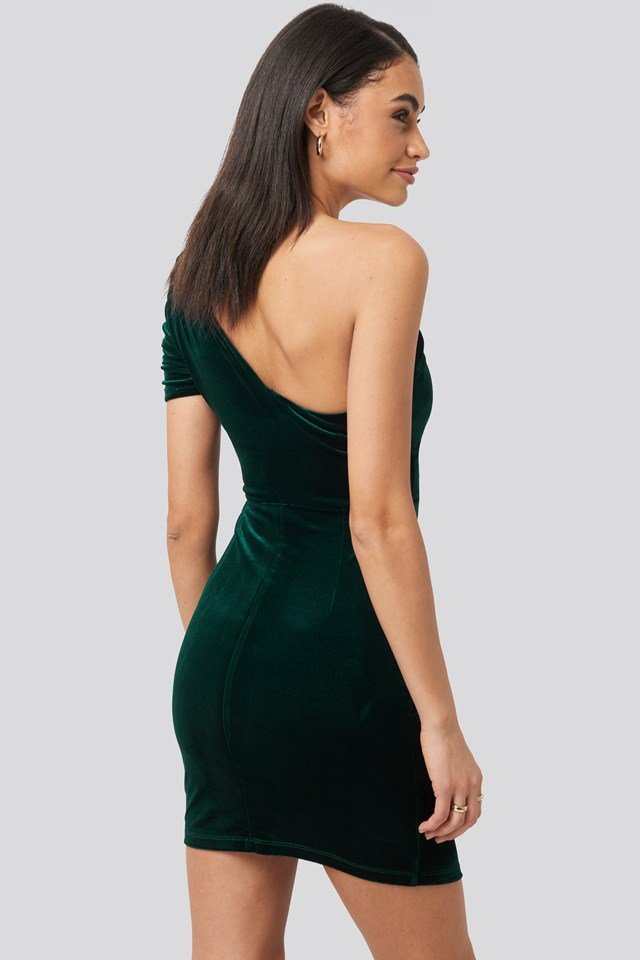 Drape Detailed One Sleeve Mini Dress Emerald Green