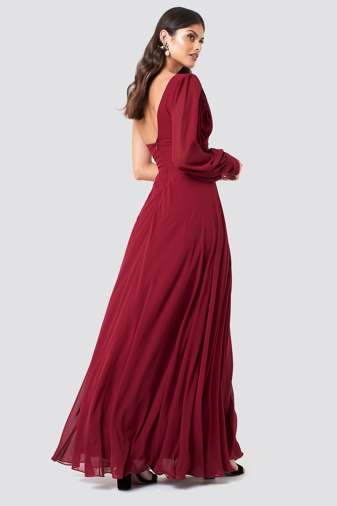 Draped One Shoulder Maxi Dress NA-KD.COM