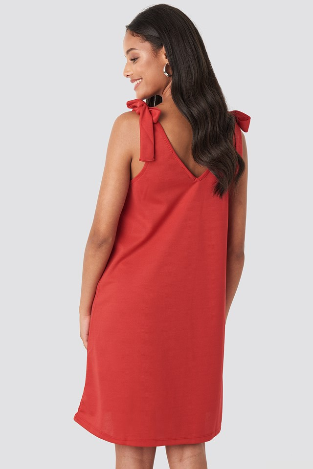Dried Binding Detailed Midi Dress Red