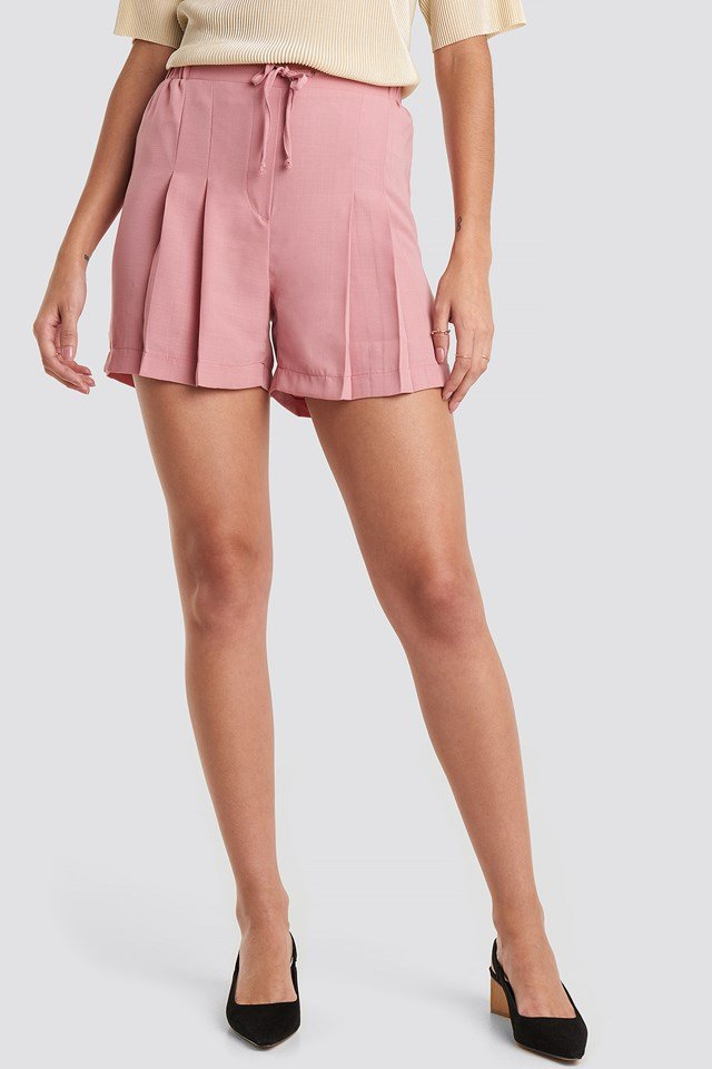 Dry Binding Detailed Shorts Dusty Rose