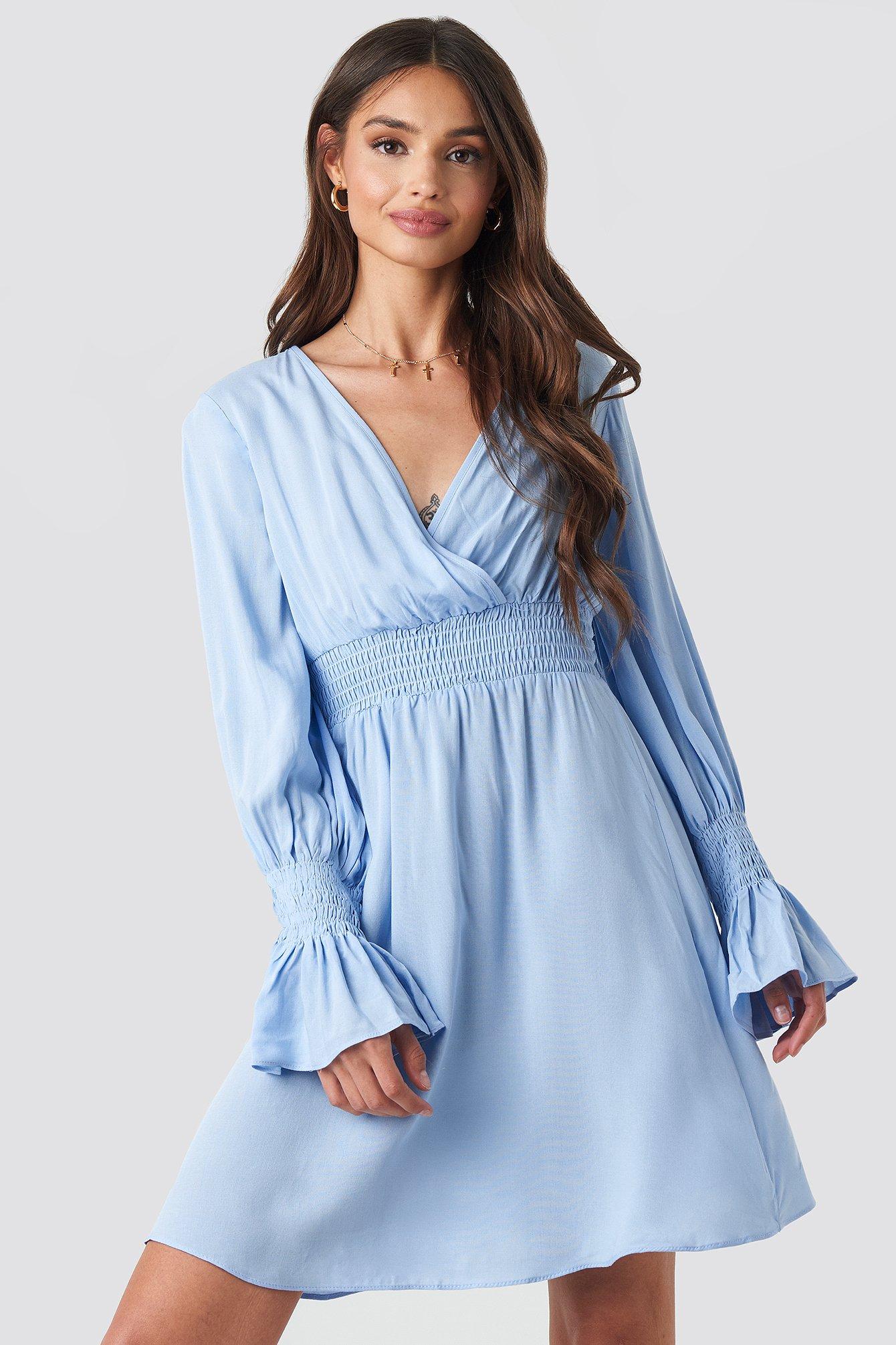 trendyol -  Elastic Waist LS Dress - Blue