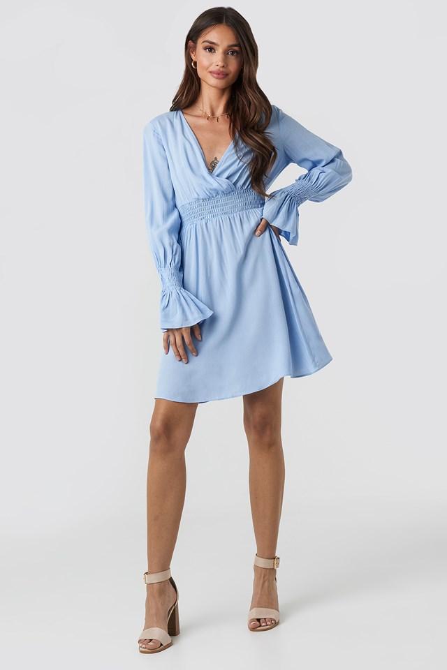 Elastic Waist LS Dress Blue