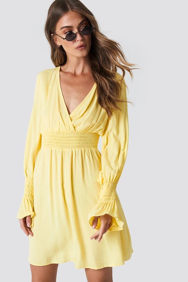 Elastic Waist LS Dress NA-KD.COM