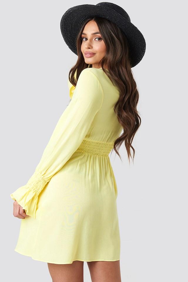 Elastic Waist LS Dress Yellow