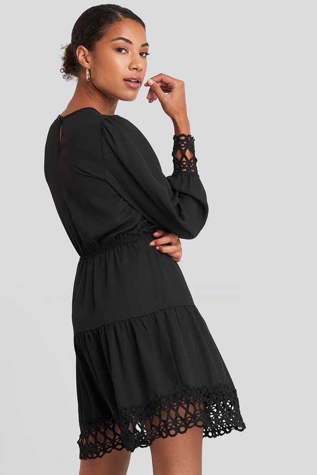 Embroidered Mini Dress Black