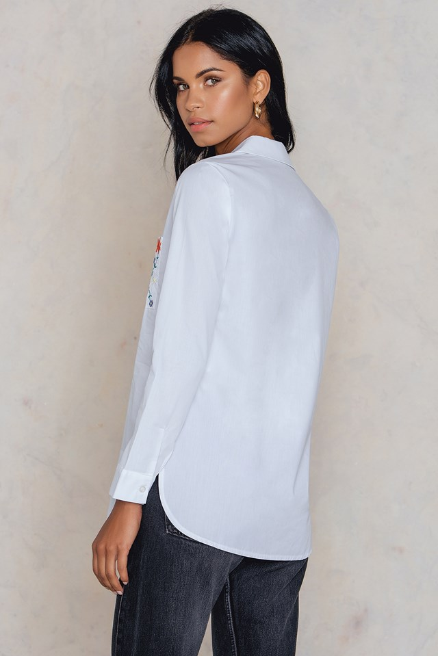Embroidered Pocket Shirt White