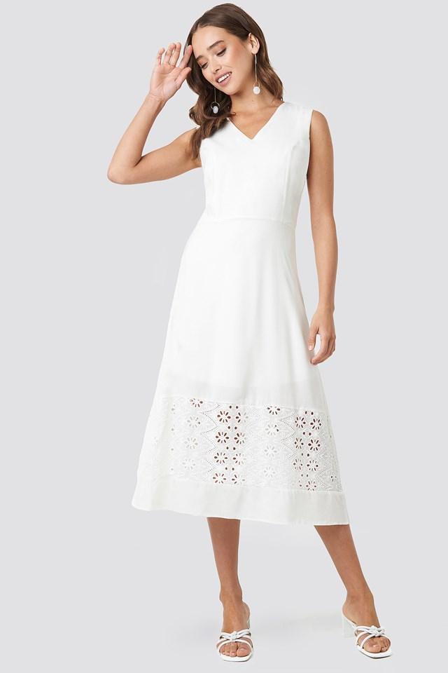 Embroidery Detail Midi Dress Ecru