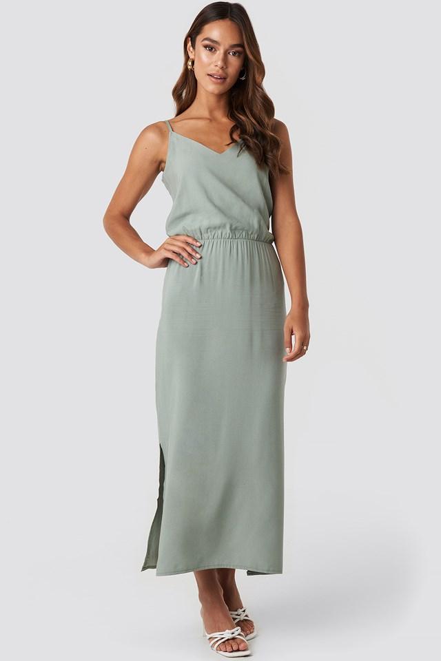 End Strap Long Dress Khaki
