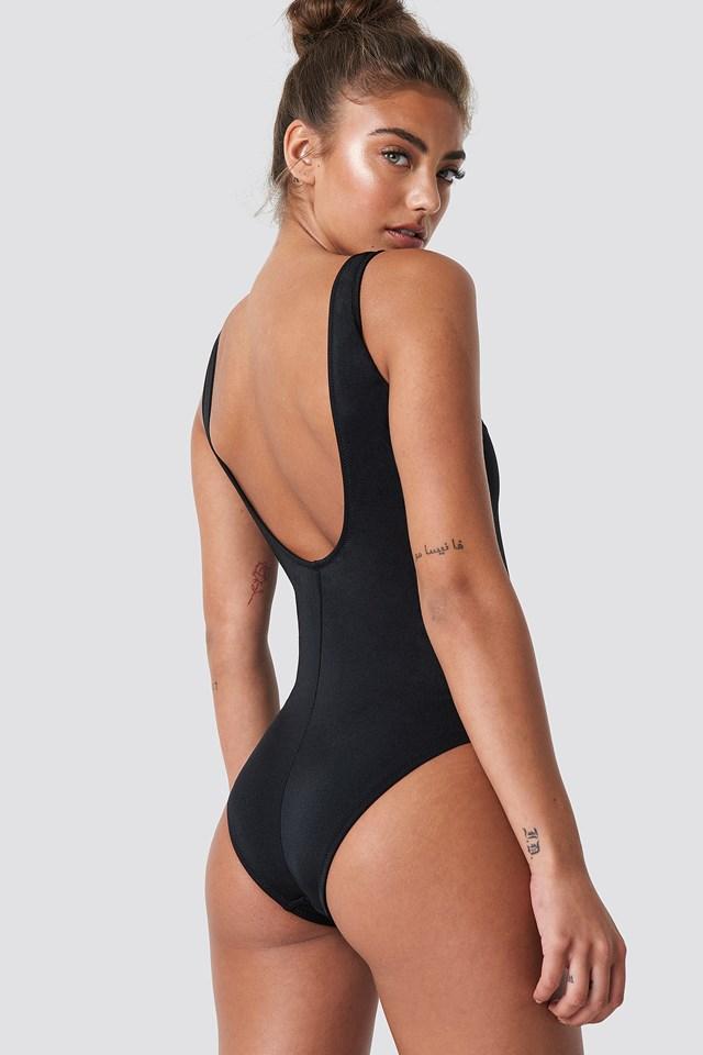 Eyelet Detailed Swimsuit Black