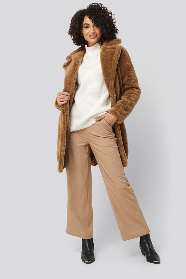 Faux Fur Long Coat Camel