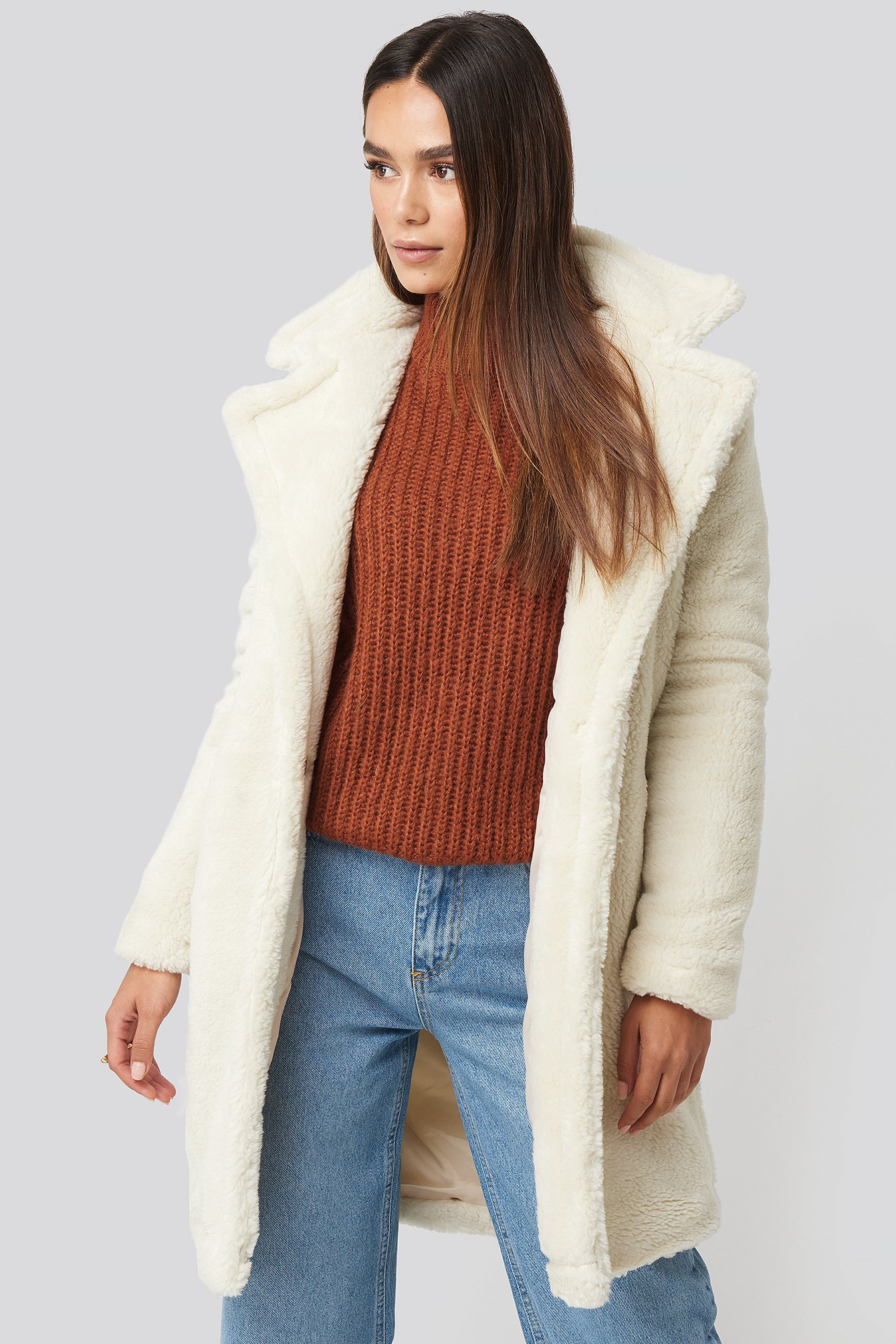 trendyol -  Faux Fur Long Coat - White