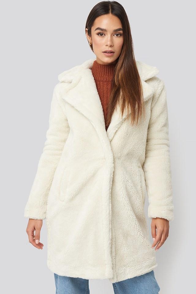 Faux Fur Long Coat Ecru