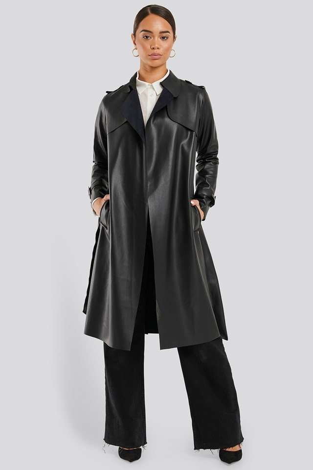 Faux Leather Trench Coat Black