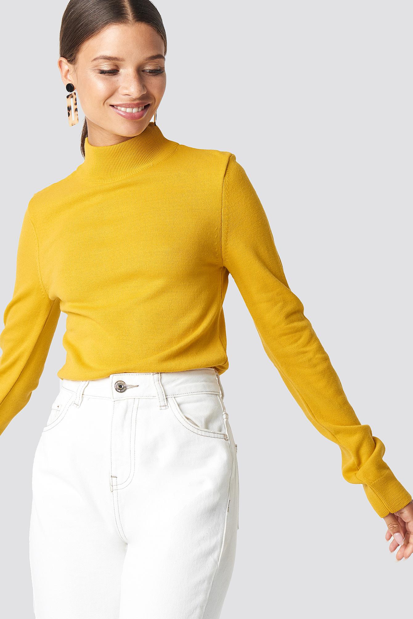 trendyol -  Fishing Collar Sweater - Yellow