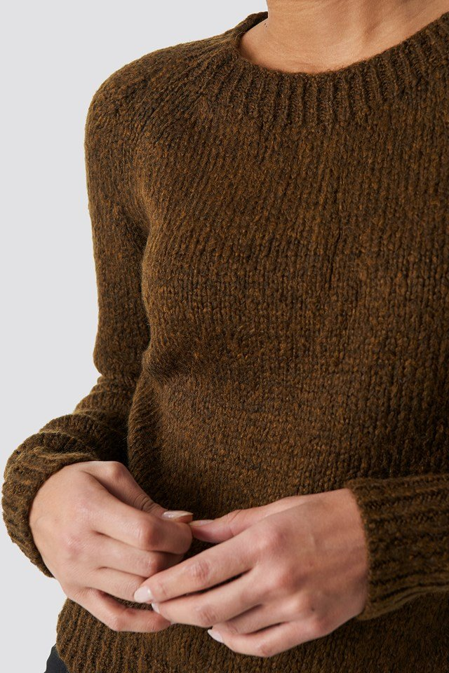 Fitted Knitted Sweater Brown