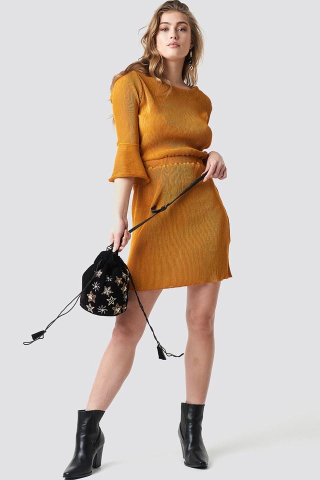 Flange Midi Dress Mustard